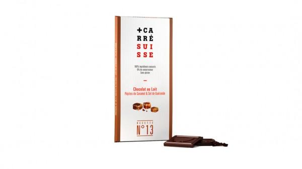 Bio Milchschokoladentafel mit Karamellsplittern und Salz Carré Suisse 100g